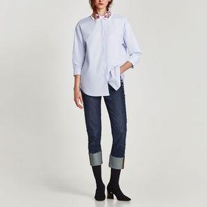 ZARA Embroidered Collar Oxford Button Down Shirt